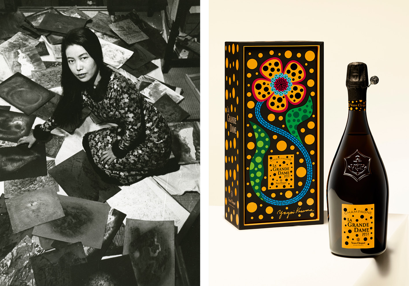 This is the second time Kusama has worked with Veuve Clicquot on bringing her art to the storied champagne house