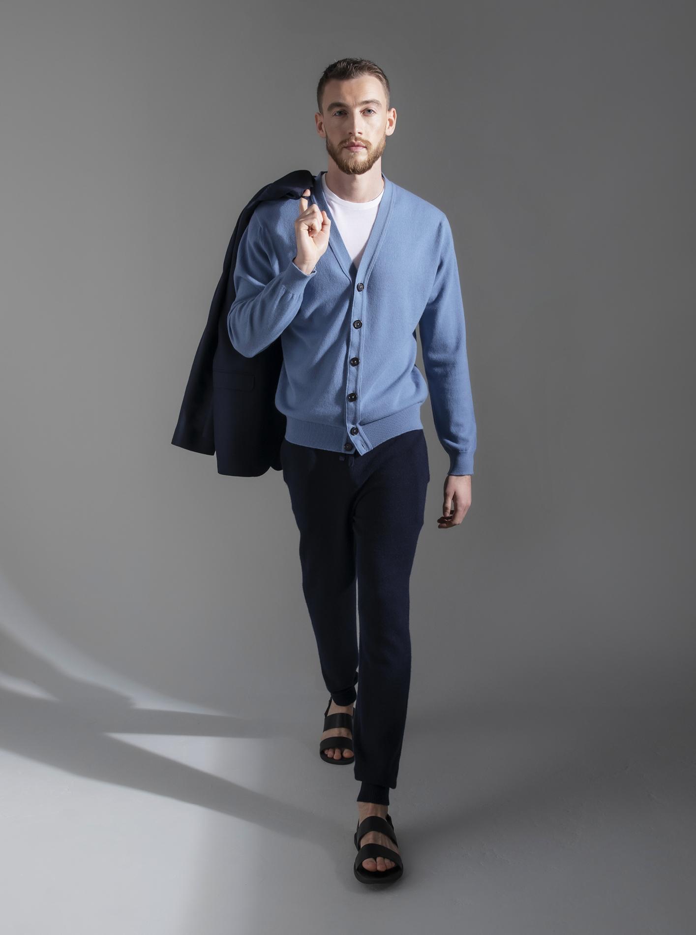 Johnstons of Elgin Wedgewood cashmere cardigan, white superfine merino T-Shirt; cashmere seamless joggers; French blue cashmere soft shoulder jacket