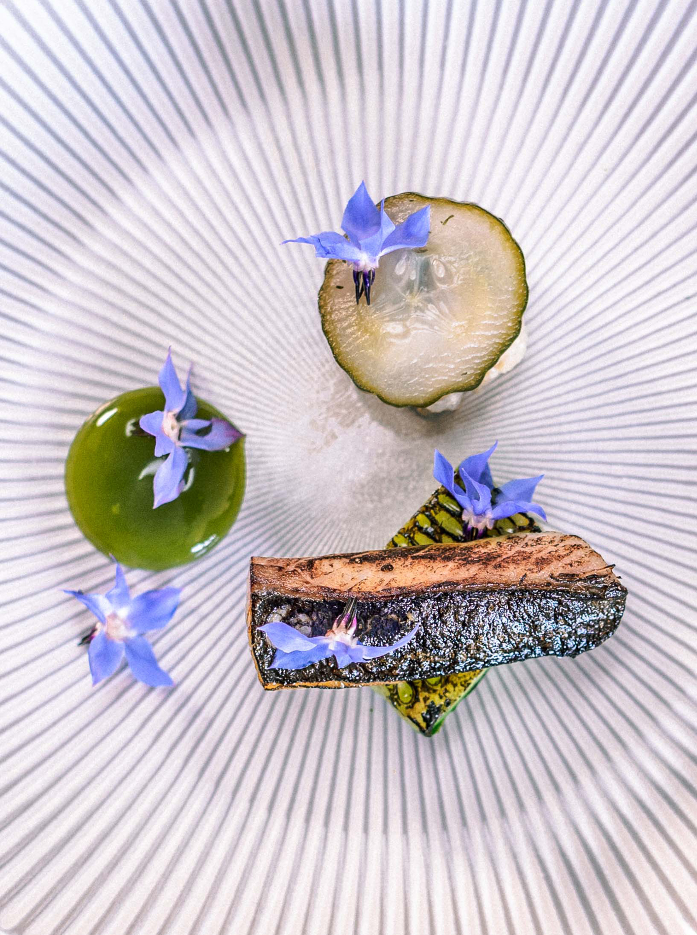 Mackerel with cucumber and borage at The Small Holding, image courtesy of Food Story Media