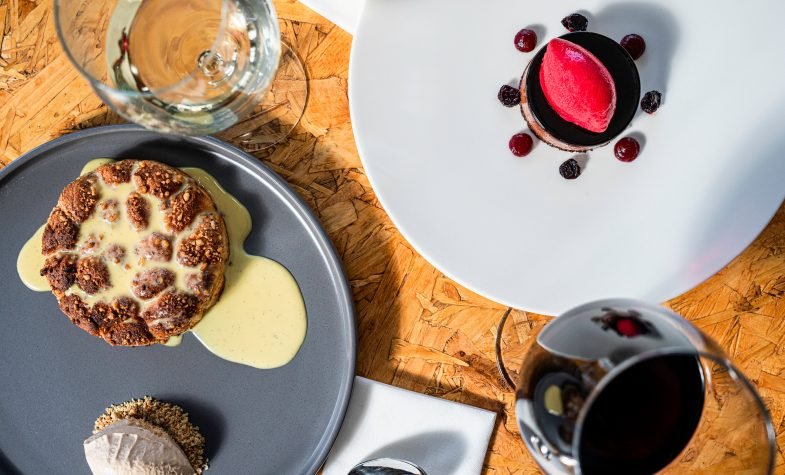 """Desserts at Turul Project include the delicious walnut dumpling and """"Ludláb"""" chocolate torte"""