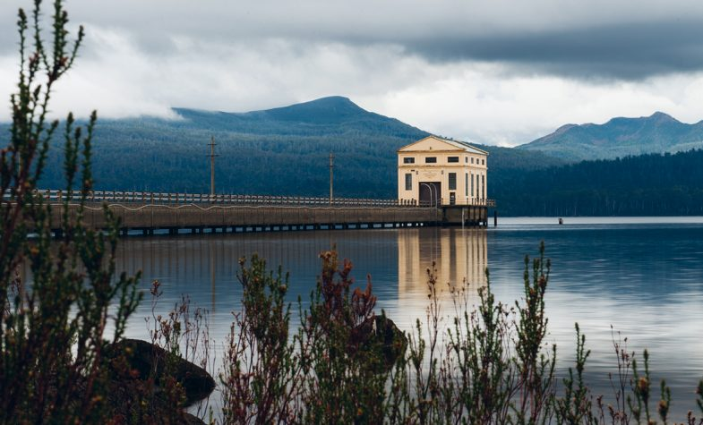 Tasmania's Pumphouse Point sits on a glacial lake surrounded by forest
