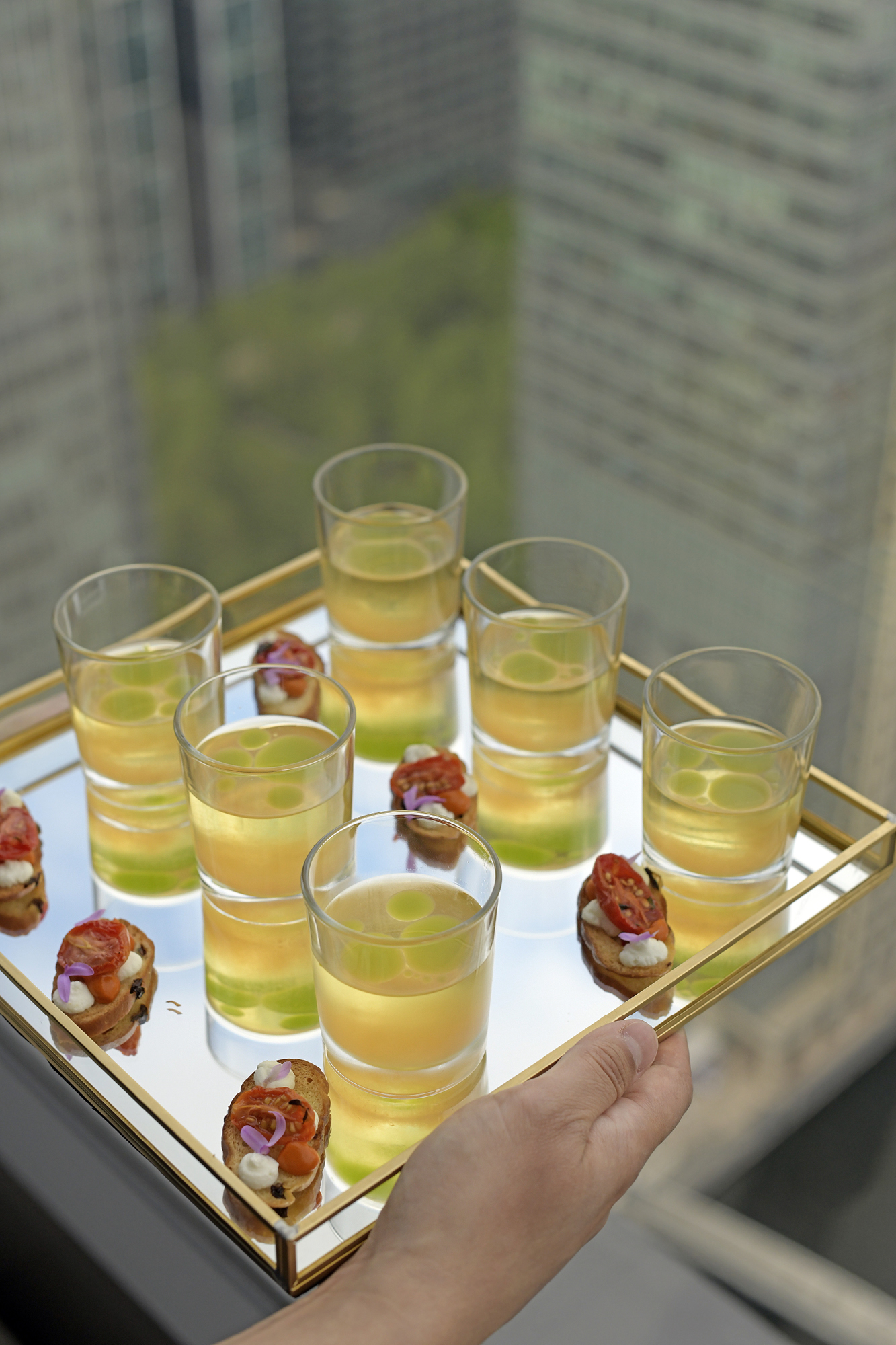Canapés were prepared by Alyn Williams