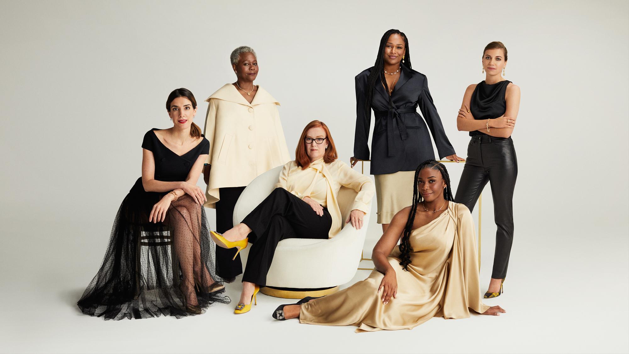 Veuve Clicquot 2021 Bold Woman Awards. From left to right: Maria Raga, Dame Donna Kinnair, Professor Sarah Gilbert, Sharmadean Reid MBE, Ebinehita Iyere, Theadora Alexander