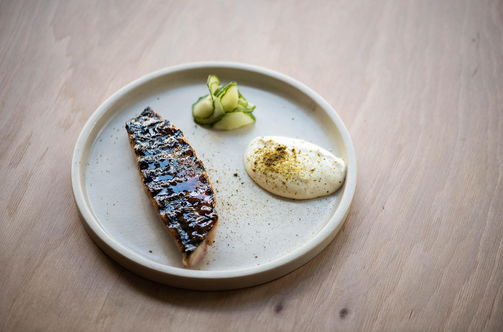 Charred mackerel fillet, pickled cucumber, gherkin powder, hung creme fraiche