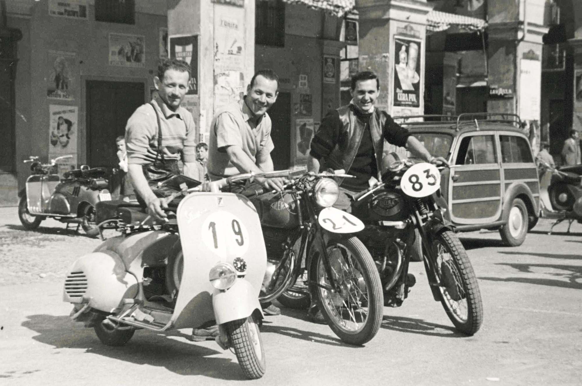 Vespa racers preparing for a rally in 1953