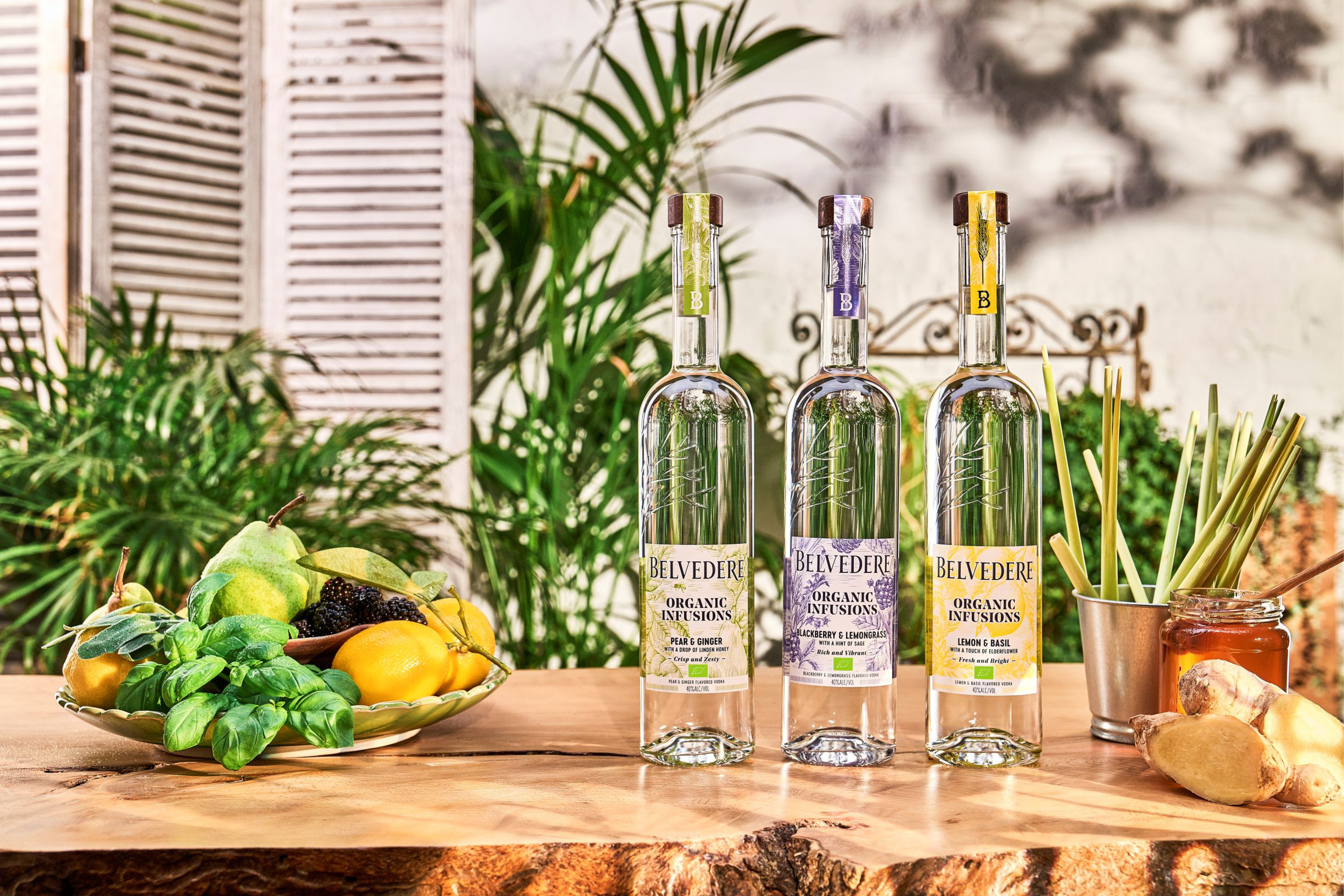 Belevedere Organic Infusions come in three flavours: lemon and basil, with a touch of elderflower, pear and ginger with a hint of honey, and blackberry and lemongrass with a dash of sage