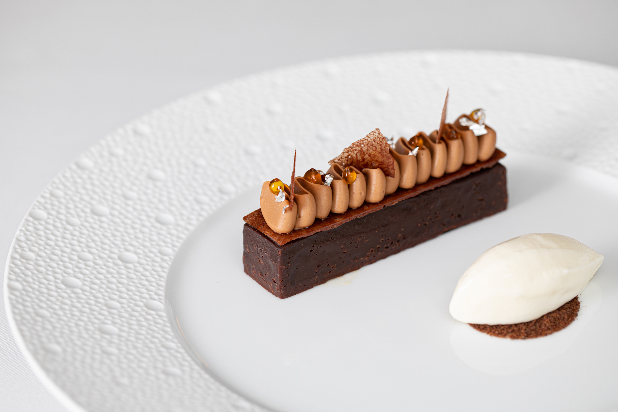 Abinao and tapioca tart with salted milk sorbet, a delicious dessert by Sofian Msetfi for at Ormer Mayfair