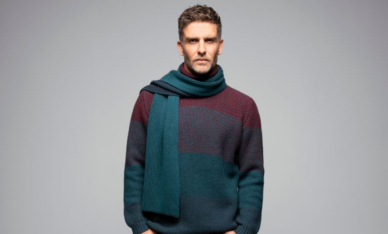 Honeycomb Ombre Roll Neck from Johnstons of Elgin