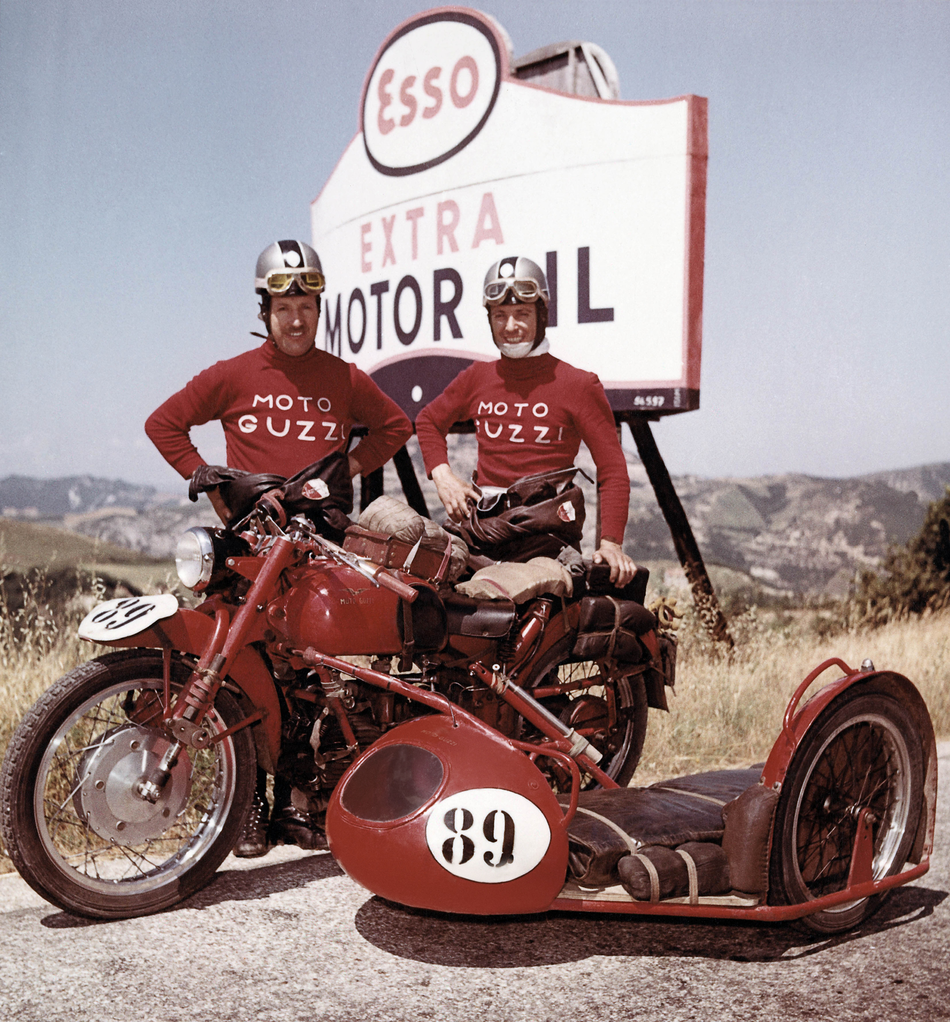 Racers at the 1953 Milano Taranto motorcycling event