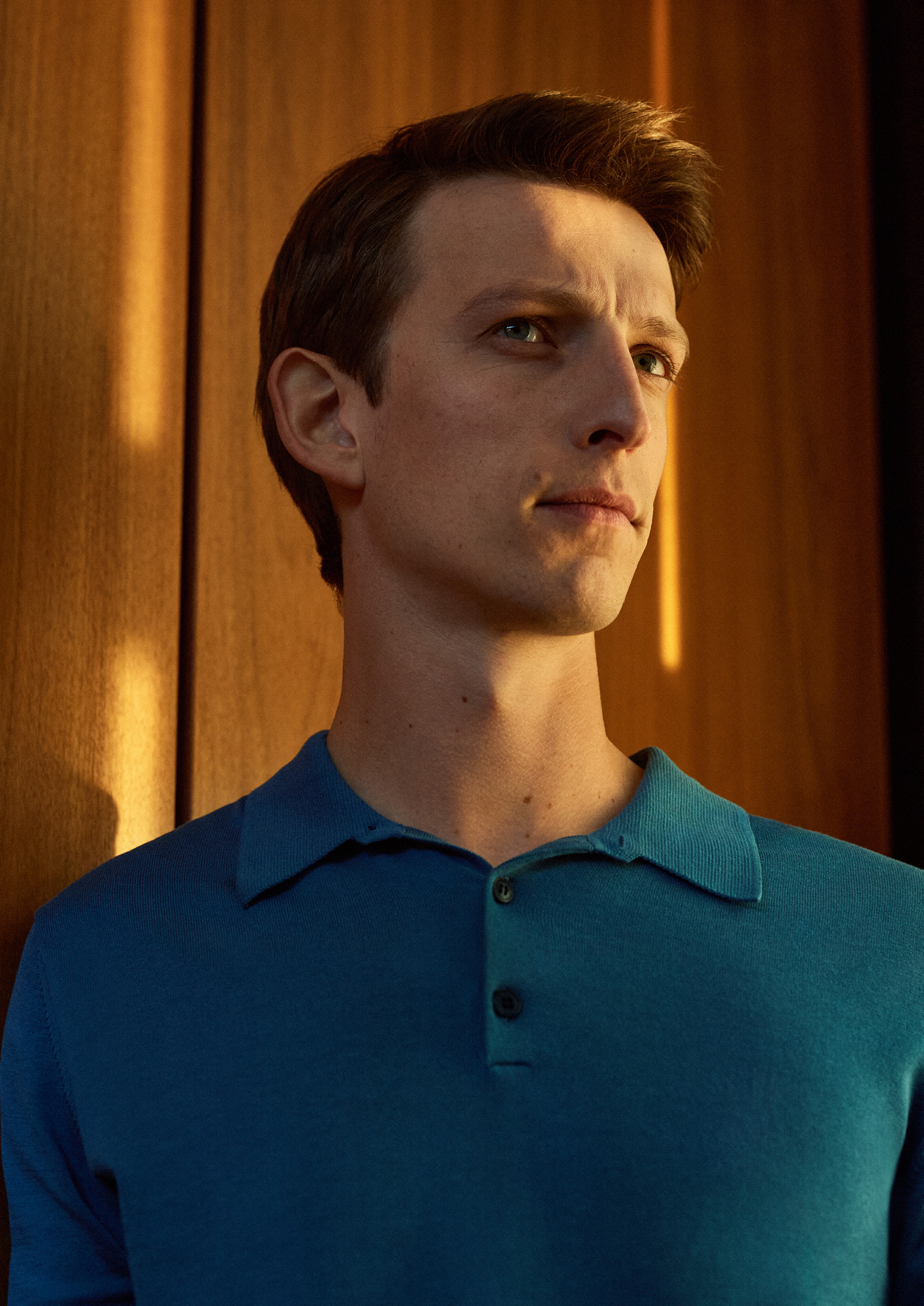 The Sea Island Cotton Knit LS Polo Shirt in Airforce, £225