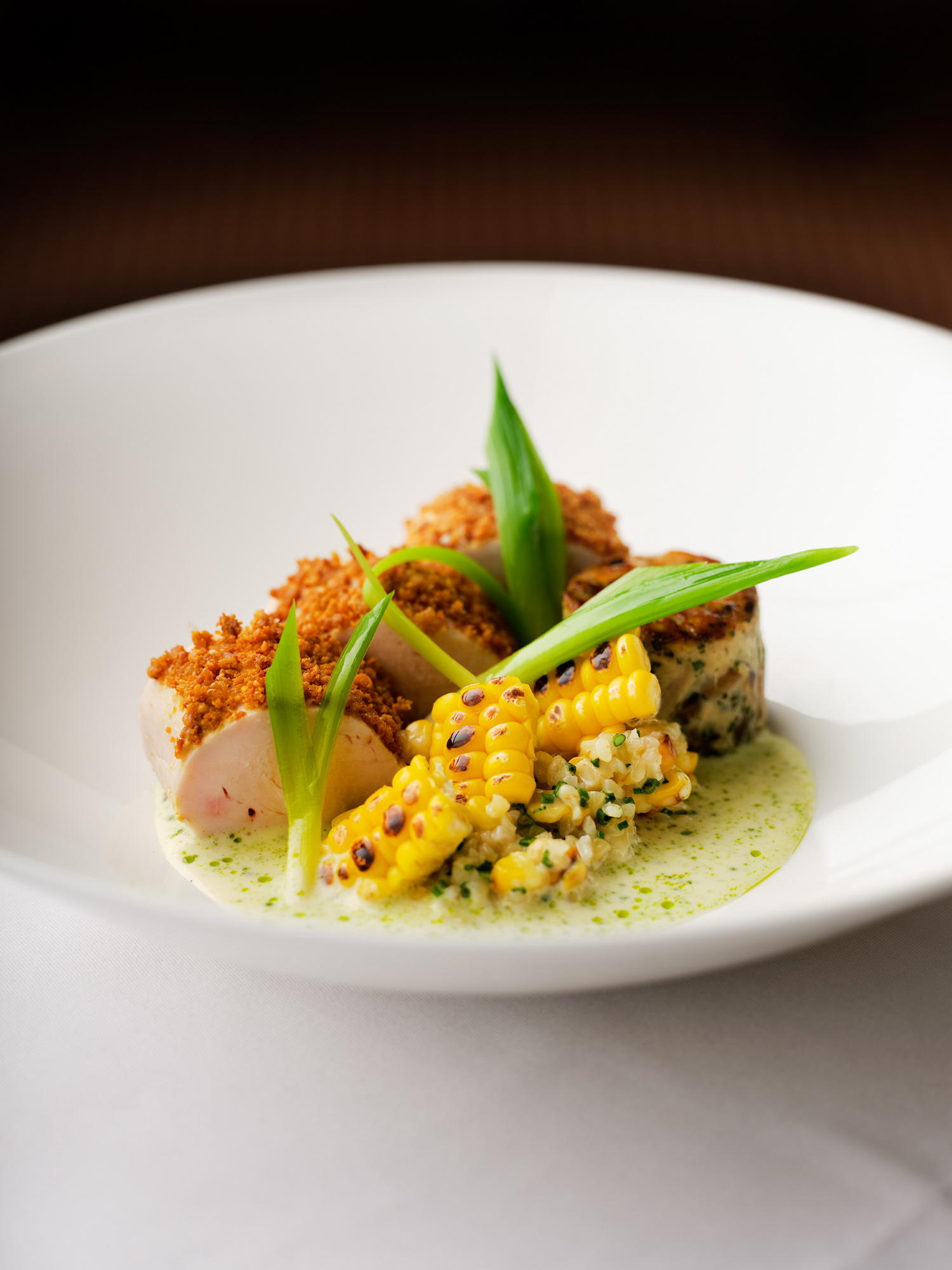 Cotswolds chicken with barbecue corn