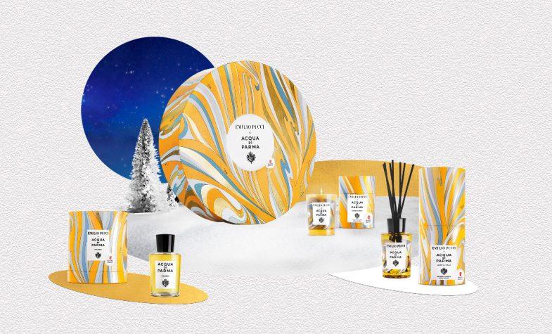 Acqua di Parma and Emilio Pucci's Holiday Season collection comes dressed in The Vortici print